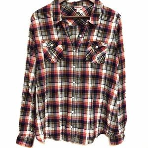 Mossimo Lightweight Plaid Button-Down [XXL]